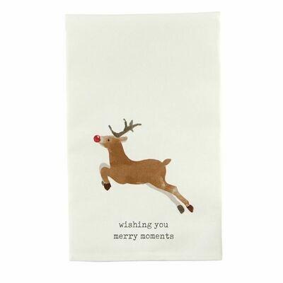 Reindeer Icon Tea Towel