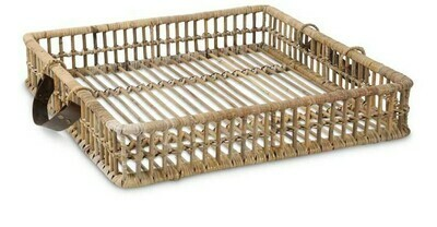 Antique Rattan Tray w/ Leather Handles Large