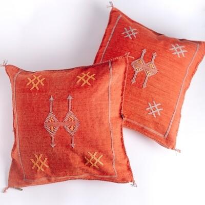Rust Cactus Silk Pillow