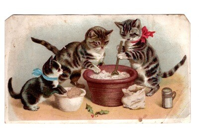 Holiday Baking Cats Lithograph Trade