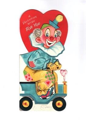 1960s Lg Gibson Clown Valentine Greeting w/Pom Hat