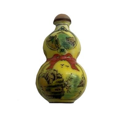 Yellow Chinese Landscape Snuff Bottle