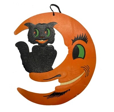 Vintage H E Luhrs Black Cat in the Moon Large Die-Cut