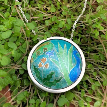Memories of Kew silver and cloisonne enamel pendant