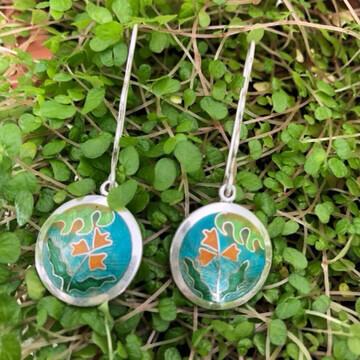Memories of Kew silver and Cloisonne enamel earrings
