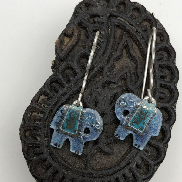 Indian Elephant Earrings - Blue Grey And Turquoise Enamel On Silver