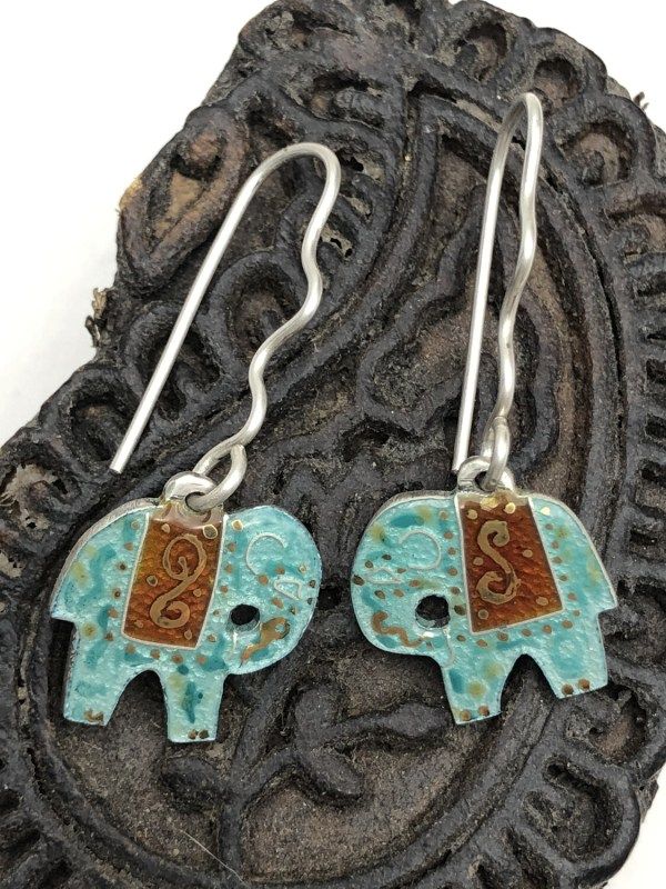 Indian Elephant Earrings - Turquoise Green And Deep Red On Silver