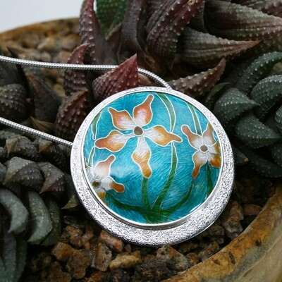 Hothouse Flower cloisonne enamel with textured silver surround