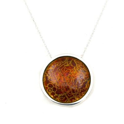 'Indian Memories' silver and enamel pendant - russet and orange