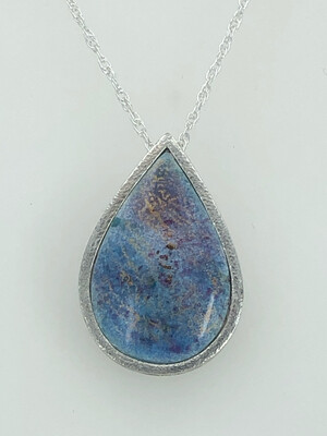 Indian Memories Silver And Enamel Pendant In Powder Blue And Light Purple