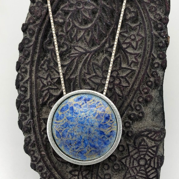 Indian Memories; Silver And Enamel Pendant - Blue