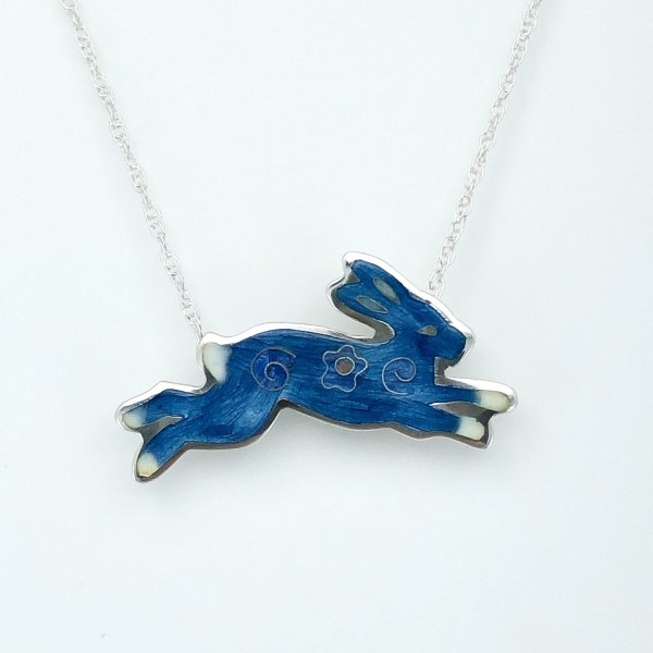 Bunny Champlevé And Cloisonné Enamel Necklace - Blue Grey And Rose Pink