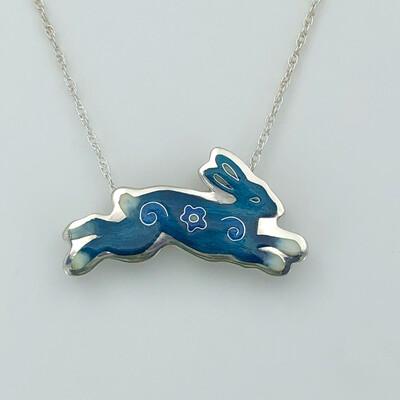 Bunny Champlevé And Cloisonné Enamel Necklace - Deep Blue Turquoise