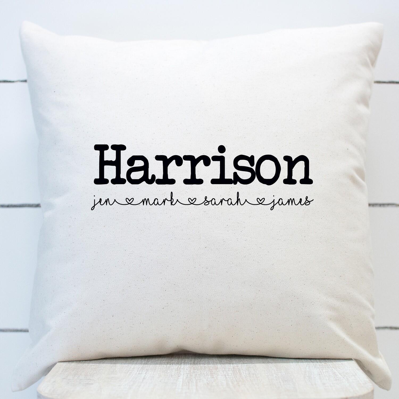 last name family throw pillow