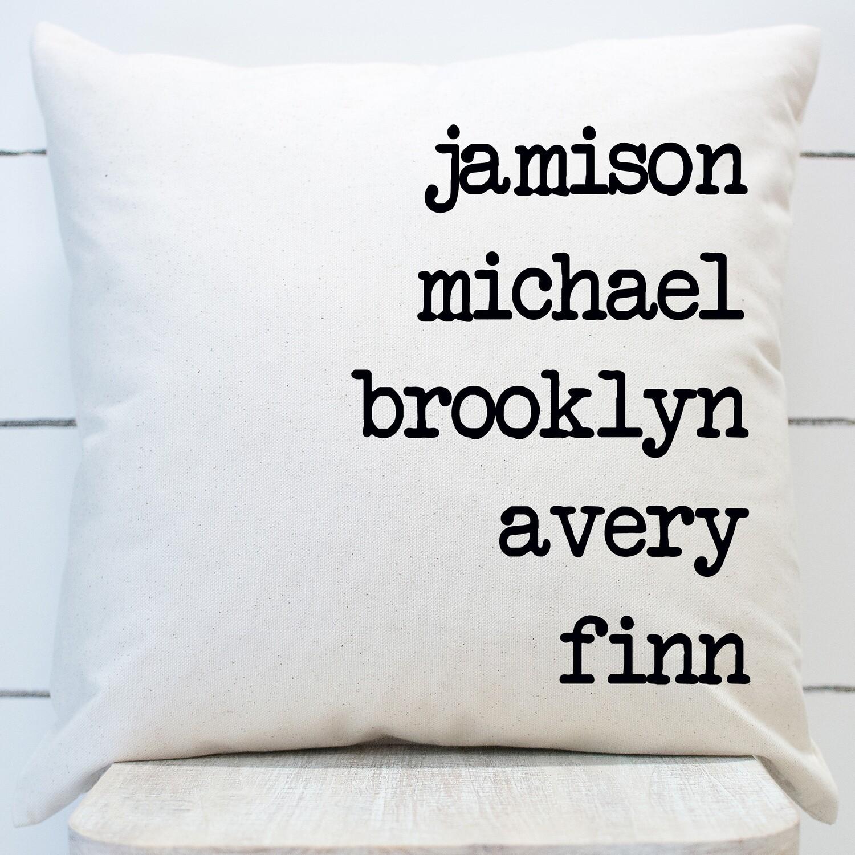family names throw pillow