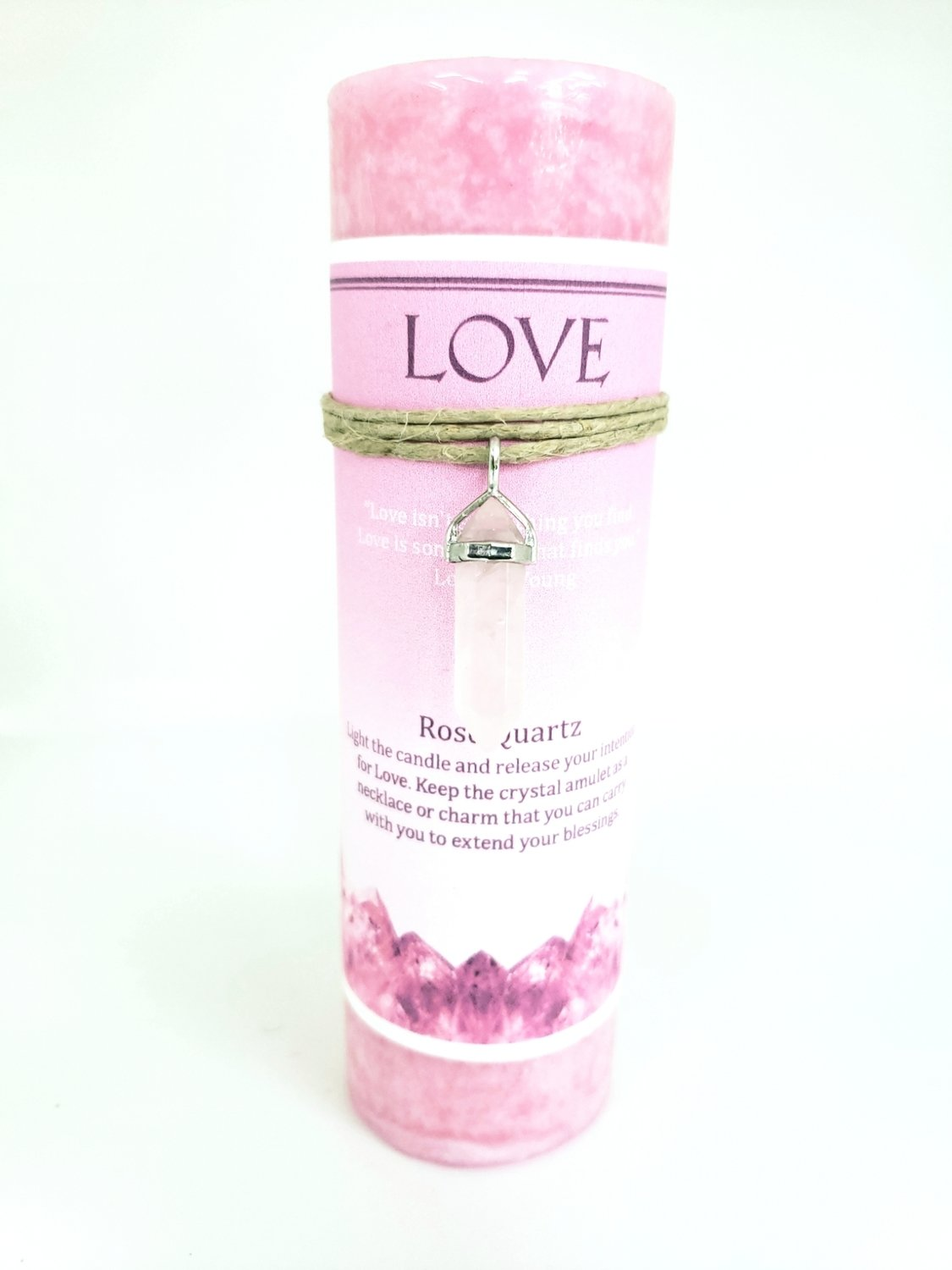 Love Candle with Rose Quartz Pendant