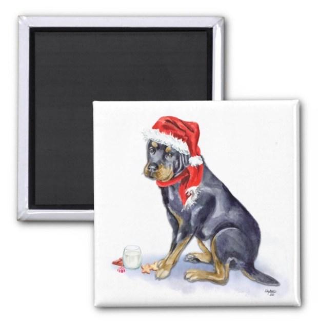 Santa, (Fur)Baby Magnet - Rottweiler