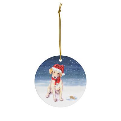 Santa, (Fur) Baby Ornament - Yellow Labrador
