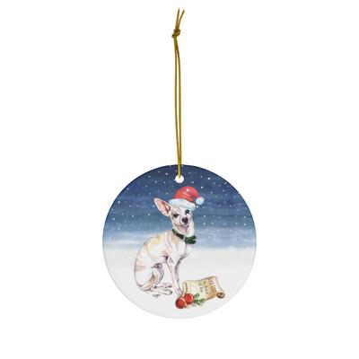 Santa (Fur)Baby Ornament - Chihuahua (fawn)