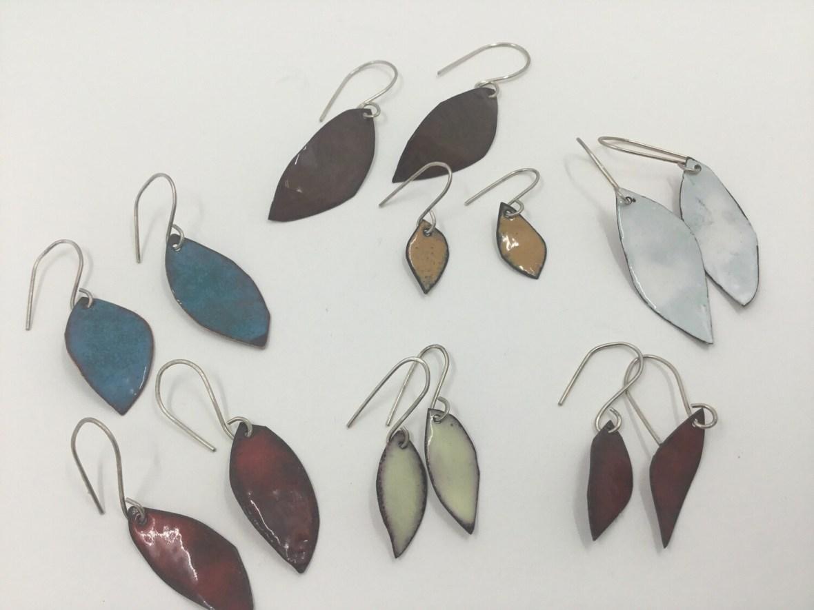 Enamel Urban Leaf Earrings