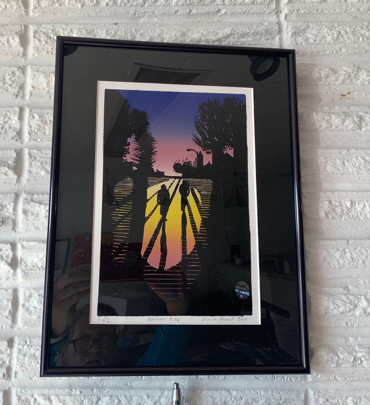 Evening Ride by Sarah Konrad (linoleum cut print)