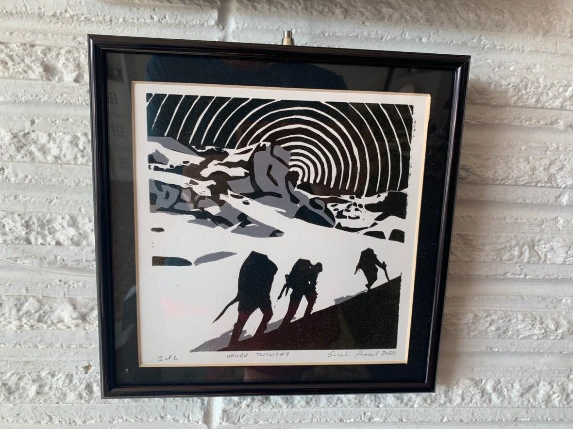 Uhuru Twilight (linoleum cut print) by Sarah Konrad