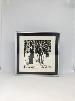 Winter Woods by Sarah Konrad (linoleum cut print)