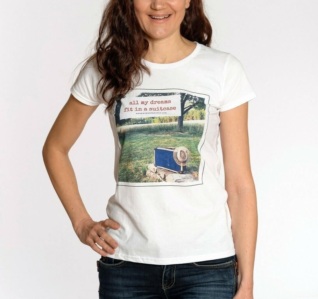 ALL MY DREAMS FIT IN A SUITCASE. Travel t-shirt white