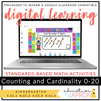 Distance Learning: Counting and Cardinality 0-20 for Seesaw & Google Slides