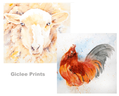 Giclee Watercolor Farm Animal Prints - MABCR Exclusive