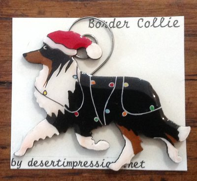 Tri-colored Border Collie Christmas Ornament -  FREE Shipping