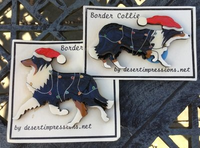 Tri Border Collie Christmas Pin - FREE Shipping
