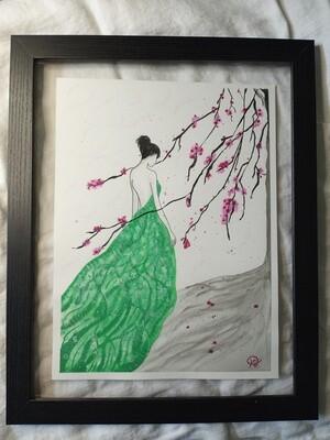 Peach Blossom Lady - Green - ORIGINAL