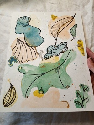 Doodle Teal Watercolor ORIGINAL Abstract Painting