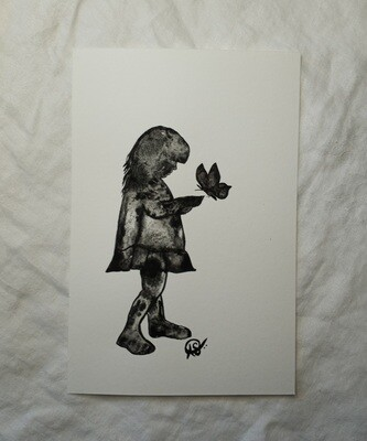 Little Lady Butterfly Series - ORIGINAL - watercolor painting