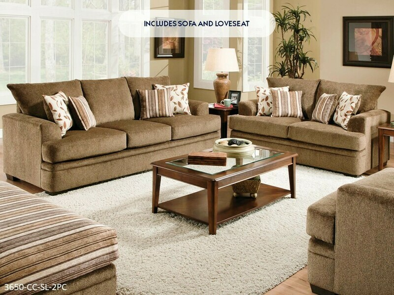Cornell Cocoa Sofa and Loveseat by American Manufacturing
