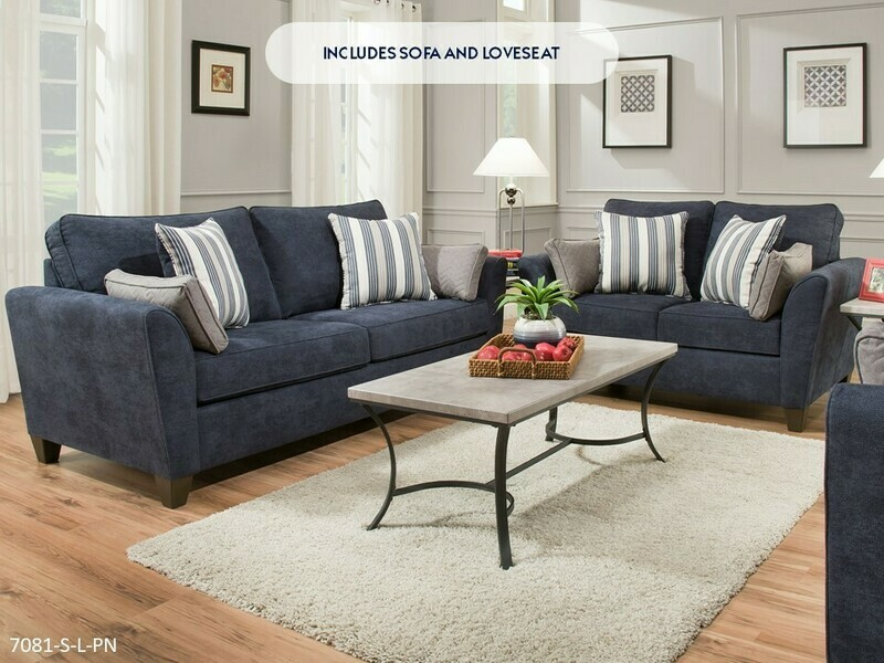 Prelude Navy Sofa and Loveseat by Lane