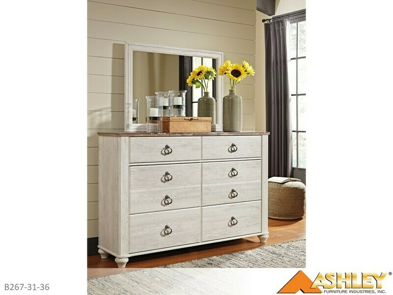 Willowton Whitewash Dresser with Mirror by Ashley