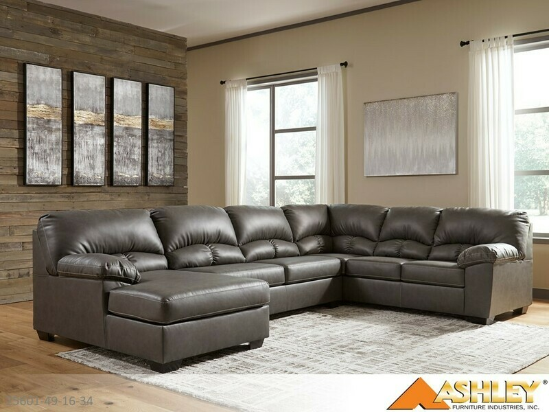 Aberton Gray Stationary Sectional by Ashley (3 Piece Set)