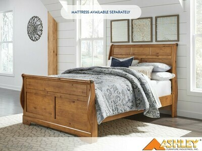 Bittersweet Light Brown Bed with Headboard Footboard Rails by Ashley (Queen)