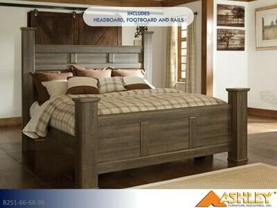 Juararo Dark Brown Bed with Headboard Footboard Rails by Ashley (King)