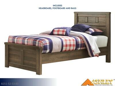 Juararo Dark Brown Bed with Headboard Footboard Rails by Ashley (Twin)