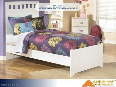 Lulu White Bed with Headboard Footboard Rails by Ashley (Twin)