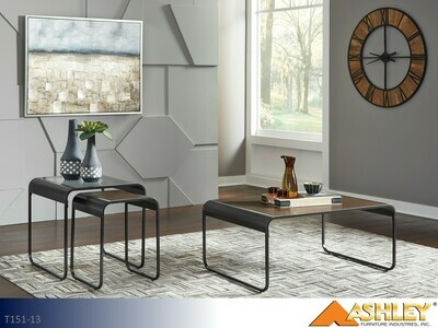 Larzeny Brown-Black Occasional Table Set by Ashley (3 Piece Set)