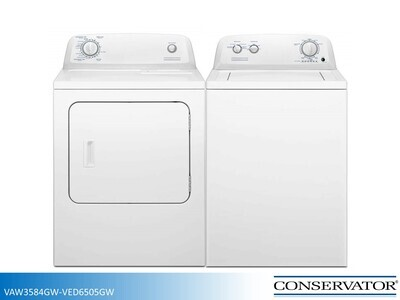 White Washer Dryer Set by Conservator (3.5 Cu Ft - 6.5 Cu Ft)