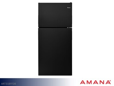 Black 18 cu ft Refrigerator with Top Mount Freezer by Amana (18 Cu Ft)