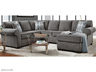 Charisma Smoke Stationary Sectional by Affordable (3 Piece Set)