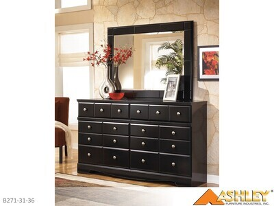 Shay Almost Black Dresser with Mirror by Ashley