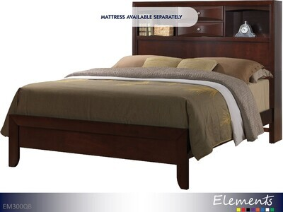 Emily Espresso Bed with Headboard Footboard Rails by Elements (Queen)