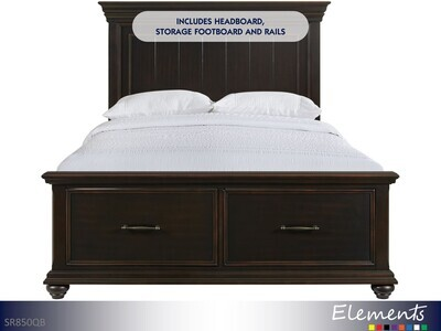 Slater Black Bed with Headboard Footboard Rails by Elements (Queen)
